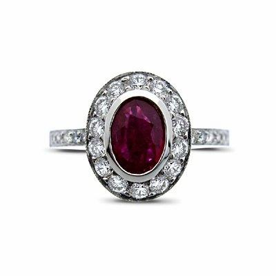 0.70ct Oval Ruby & Diamond Cluster Ring